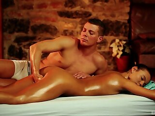 Tanned doll amazes with her dispirited she is