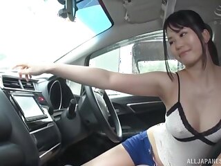 Outdoors titbjo with the addition of a blowjob by a sexy Japanese exotic