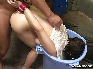 Buxom Japanese hoe Eri Makino gets masturbated and fucked missionary hard
