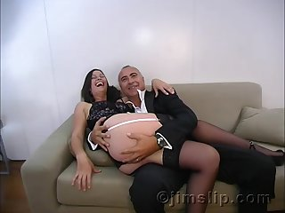 Amateur brunette in socks Maxine fucked and creampied by an older guy