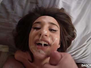 Isabella Nice gets her pretty face covered with cum after a blowjob
