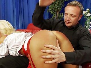 Blonde in red thongs spanked before she takes cock in her mouth