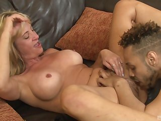 Blonde MILF Brandi Fox gets cum on her tattooed ass
