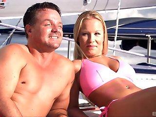 Blonde whore Boroka Bolls cum covered in a threesome on a boat