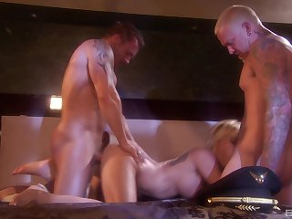 Horny blonde MILF nympho Angie Savage gets cum on her round ass