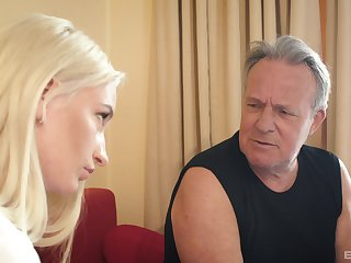 Blonde with a shaved pussy Angela Vital sucks and rides an older man