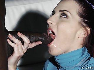 Redhead babe Lyen Parker gets a big black cock deep and swallows cum