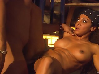 Curly haired Latina babe Dee Baker fucked hard in a warehouse