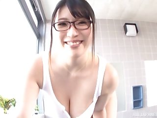 Yurai Chitose plays with her boobs and sucks cock in POV
