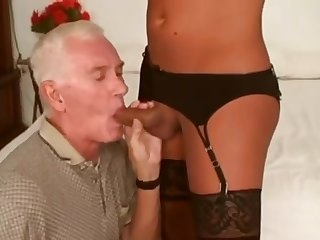 SEXY SHEMALE FUCKS OLD GUY