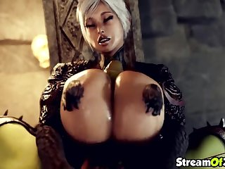 Tow-headed babe giving perfect and splendid titjob to this lucky orc guy with huge dick