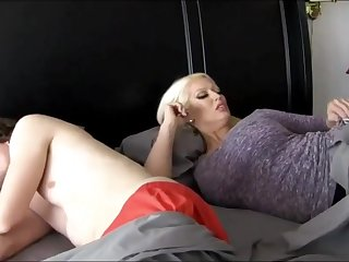 Super-Sexy ash-blonde chick with massive breasts is plumbing the brush step- son-in-law because she loves his hard-on