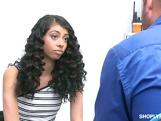 Great looking curly haired babe is taught a lesson by a store security