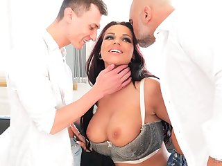 German hooker close by fat jugs Jolee Cherish gives her head and gets double penetrated