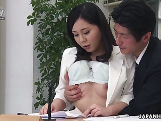 Torrid black head Miyuki Ojima flashes tits and gives nice head