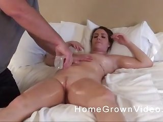 Chubby oiled up brunette with big tits massaged and pussy fucked