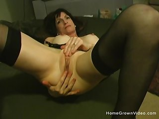 Beautiful brunette grown up has her shaved pussy licked and fingered