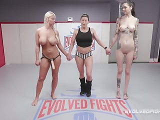 Hot BJJ MILF London River submits the brush opponent and then fucks the brush hard