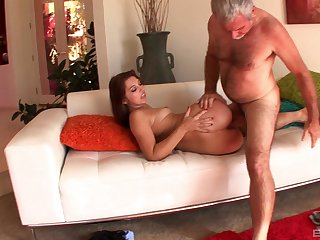 Experienced bloke takes good care of her fresh pussy