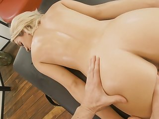 Slim blonde with yummy ass Khloe Kapri is fucked by horny rub-down boy