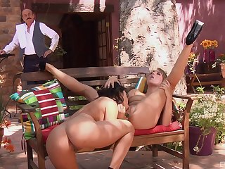 Unclad public lesbian sex with charming girls Lana Lopez with an increment of Ella Milano