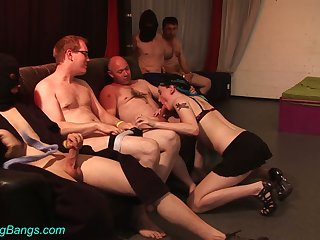 Sex-starved nerds fucks professional hooker Trixi one after another
