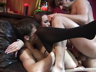 Overt mommy gets two males to shy away from her fresh holes