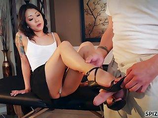 Nude Korean Saya Song gives a footjob and blowjob to play a joke on married man