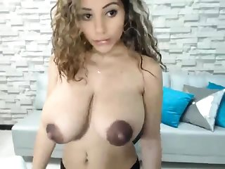 Astounding weighty boobs blonde Niley Hott teasing on cam