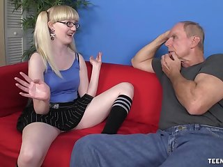 Blonde slut Krystal Orchid flashes her wet pussy while giving a handjob