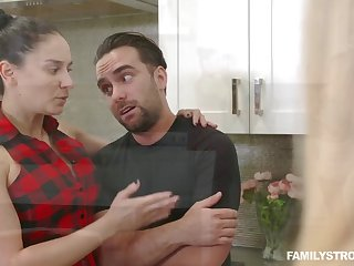 Curvy MILF stops a fight between her stepson and his GF