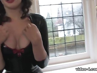 Lizzie Bayliss nigh Black Apprise of added to Leggings - LatexHeavenVideo