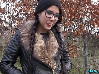 Cute unreserved close to glasses and pigtails gets her ass covered in cum