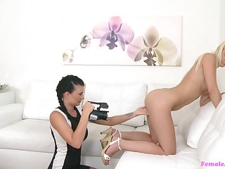Nice bore blonde pleasured with a sex toy by a cissified agent