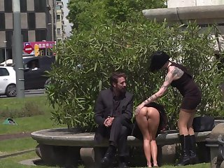 Open-air sexual fun in the park just about a couple and their related girl