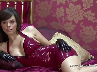 Marvelous amateur latex gripe and her sexy cleverage exposed in hotel