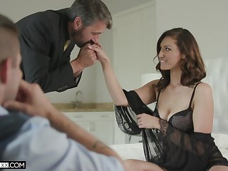 Handsome voyeur is watching old timer fucking his downcast young wife