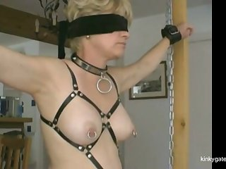 My doomed slave  (from France) gets the brush slutty nipples pierced with safety pins