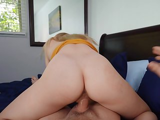 Girl rides simulate brother's cock in reverse for a full POV tryout