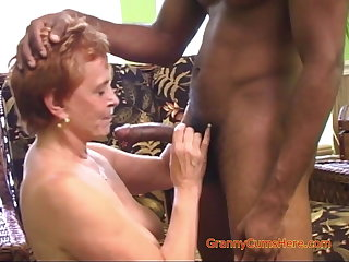 Interracial Gangbang with a Horny Granny