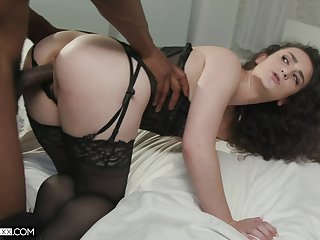 Felonious man calms a hungry Caucasian girl in his big black cock