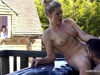 Partial to blonde woman with big tits, India Summer is cheating on her husband, close by eradicate affect backyard