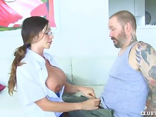 Horny mature guy needs egg on coupled with sexy doctor Ariella Ferrera helps him