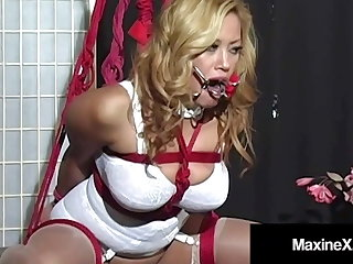 Bound Busty Asian Maxine X Made To Cum In A Tooth Gag!