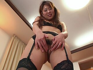 Japanese MILF creamed mesh a nasty fuck into her hairy snatch