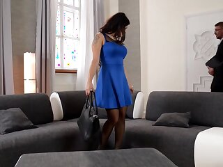 Outstanding dark-haired is about to try a mmf 3 way in her fresh palace and get a internal ejaculation