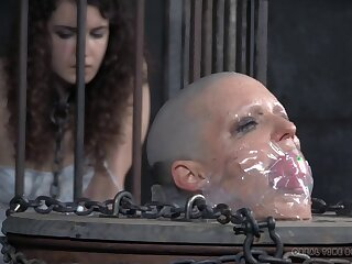 Shaved head old bag Abigail Dupree gets tortured by two guys
