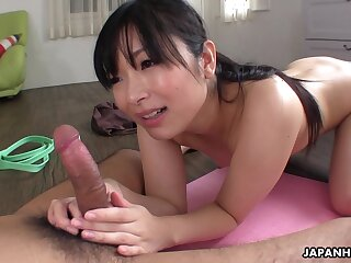 Natty Japanese hottie Hina Maeda is poked immigrant behind in the gym