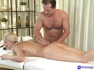 Young blonde lets older masseur to fuck her in insane modes