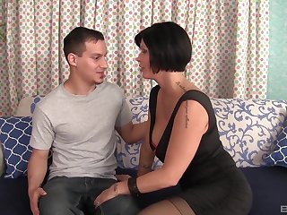 Mature short haired busty whore Shay Fox blows cock on her knees